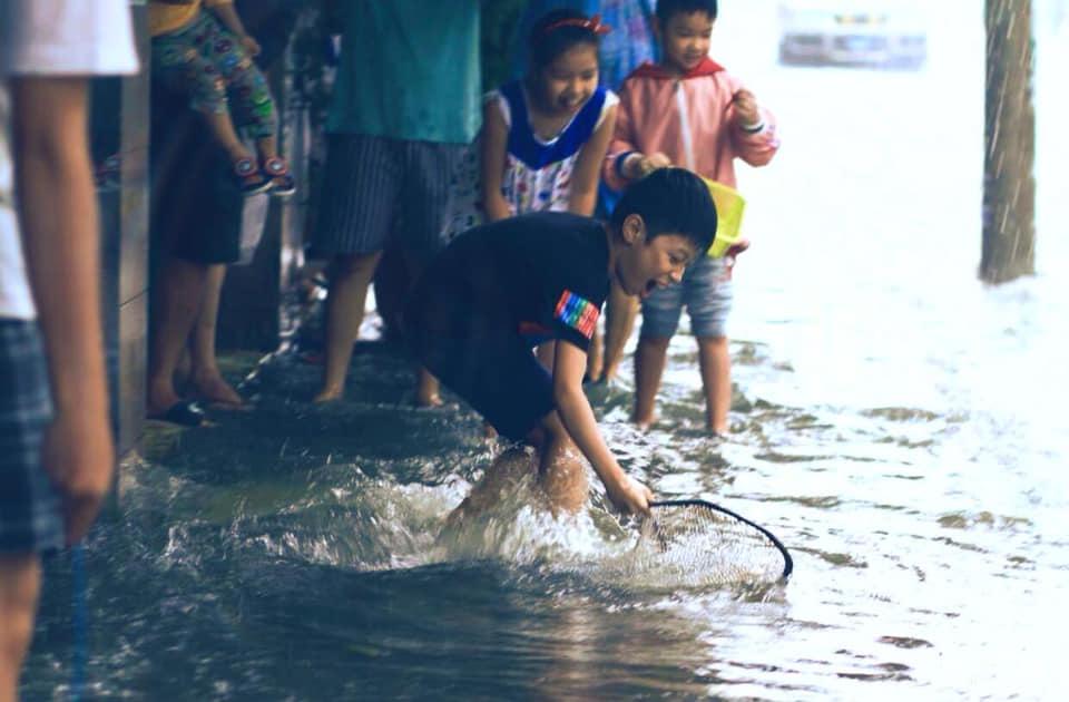 Trẻ em xuống đường bắt cá